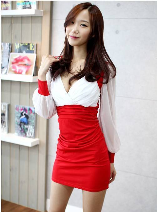 343F012 Sexy party dress, chiffon & microber,  deep v,Free size, fit to S-L, red