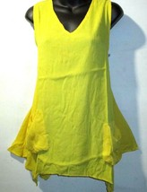 Top XL 1X Plus Tunic Tank Yellow Shark Bite Cascading Hem Big Pocket NEW... - $9.76