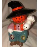 Halloween Decor Light Up Scarecrow Jack-o-Lantern Ghost Ceramic Pottery - £21.59 GBP