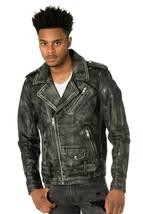 Men's Motorcycle Biker Vintage Distressed Black Faded Real Leather Jacke... - $99.99