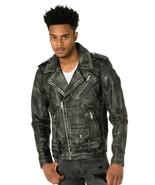 Men's Motorcycle Biker Vintage Distressed Black Faded Real Leather Jacke... - £67.14 GBP