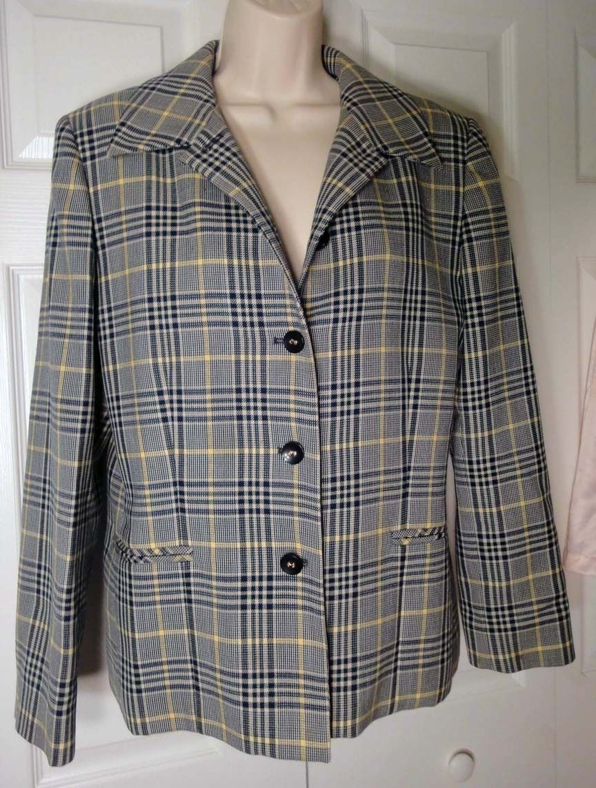 Primary image for Vintage 60s Pendleton Plaid Jacket Silky Virgin Wool Blazer Yellow Blue