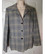 Vintage 60s Pendleton Plaid Jacket Silky Virgin Wool Blazer Yellow Blue - $8.00