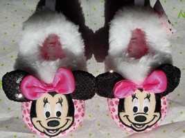 NEW Toddler Girls Disney Minnie Mouse Slippers Size 11/12 Sequins - $9.99