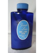Vintage Bottle Bour Jois Bourjois French Lace Lotion Cobalt Blue Incise ... - $12.00