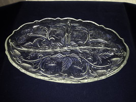 "Fenton Inverted Strawberry Clear Oval 3 Part Divided Relish Dish 8"" X 5"" - $16.00"