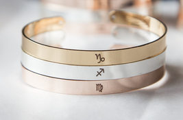 Personalized Zodiac Symbol Bracelet Horoscope Cuff Virgo Leo Gemini Arie... - £16.49 GBP
