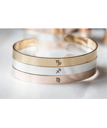 Personalized Zodiac Symbol Bracelet Horoscope Cuff Virgo Leo Gemini Arie... - $493,59 MXN