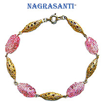 Nagrasanti 14k Gold Murano Glass/Filigree Beaded Chain Bracelet - $33.00