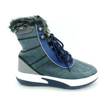 Lands End Womens 474029 Chill Action Winter Boots Faux Fur Navy Blue 8.5B - $65.83