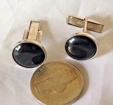 Vintage Signed Men's PIONEER Cufflinks Round Black & Silvertone Plain Pivot - $9.97