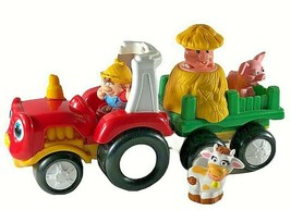 Fisher Price Little People Farm Tractor Hay Wagon w/ Sounds Pop Up Pig c... - $22.76