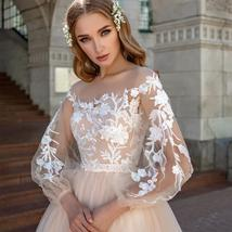Lace Appliques A-Line Wedding Dress Lantern Sleeves Tulle Boho Wedding Gown image 3