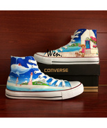 Coastal City Beach Cartoon Girl Custom Converse Hand Painted Canvas Snea... - $189.00