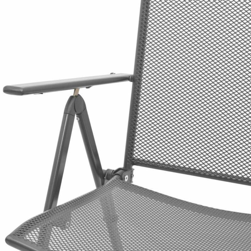 Metal Outdoor Chairs 2 pcs Garden Patio Camping Reclining Seats Furniture Set