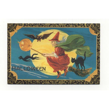 Witch on Broom Halloween Cards  Victorian Reproduction