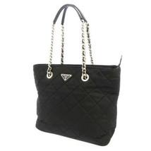 PRADA Quilted Tote Bag Tessuto Nylon Calf Leather Black 1BG017 Chain Bag - $815.20