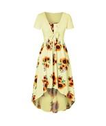 Women 2019 Summer Dress Elegant Vintage Daily Short Sleeve Sunflower Pri... - $15.10