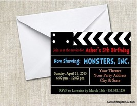 Movie Theater Hollywood Birthday Party Invitations Personalized Custom - $0.99+