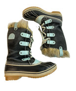 Sorel Youth Joan of Arctic Boots Blue Suede Turquoise Faux Fur Size 4 Wo... - $46.71