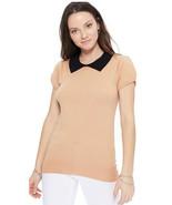 Tan & Black Short Sleeve Knit Top - Peter Pan Collar Retro - S to L - He... - $24.00