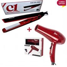 Corioliss C1 Red Leopard  Flat Iron Hair Straightener + Hair Dryer Blow ... - $167.31