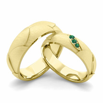 14K Yellow Gold Plated Silver 925 Round Cut Couple Emerald Wedding Ring Set  - $99.99