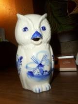 VINTAGE PORCELAIN OWL FIGURINE CREAMER  BLUE DELFT WINDMILL DESIGN 4 3/4... - $24.63