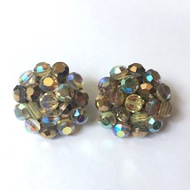 Vintage Vogue AB Faceted Cluster Bead Clip on Earrings Aurora Borealis S... - $16.78