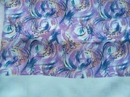 "58"" X 58"" Italian Designer Pure Silk Jacquard Fabric Mintlavender Blue Swirls - $45.00"