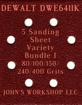 DEWALT DWE6411K - 80/100/150/240/400 Grits - 5 Sandpaper Variety Bundle I - $7.53