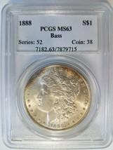 1888 Morgan Silver Dollar PCGS MS 63 Bass Hoard Pedigree Collection Coin... - $139.99