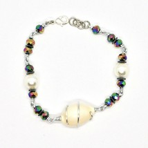 BRACELET THE ALUMINIUM LONG 20 CM WITH SHELL HEMATITE AND PEARLS image 2