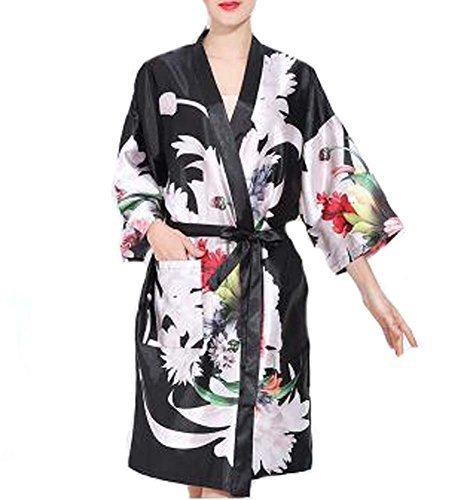 Retro Style Beauty Salon Flower Gown Robes Hairdressing Gown for Clients, Black