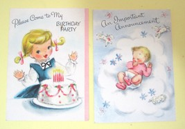 Pair of Vintage Cards Birth Annoucement & Birthday Party Cards Hallmark T64 - $8.42