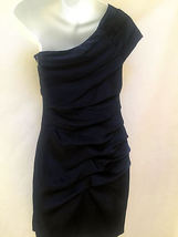 Express Sz 2 Dress Blue Ruched One Shoulder Bodycon Mini Cocktail Clubwear image 4