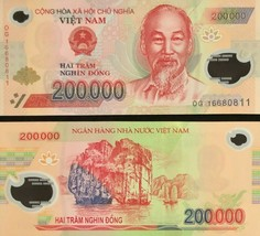 200000 Vietnamese Dong Uncirculated Bank Note for Collectors MINT USA Fa... - $19.79