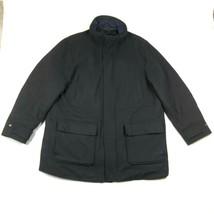 Tasso Elba Coat Jacket Mens 2XL Wool Blend Black Full Zip Overcoat Pea coat - $51.70