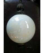 Mid Century Modern Iridescent Hanging Globe Swag Lamp White Pearl Brass ... - $200.29