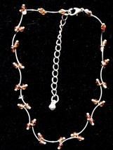 Vintage Delicate Silver Color Orange Bead Curved Barbell Links Bracelet ... - $8.66