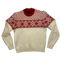 Geiger Tyrol Austria Womens Pure Wool Fair Isle Cream Red Sweater Size 3... - $39.59