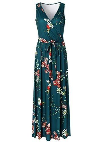 Zattcas Womens V Neck Sleeveless Empire Waist Floral Maxi Dress,Teal Green,X-Lar image 3