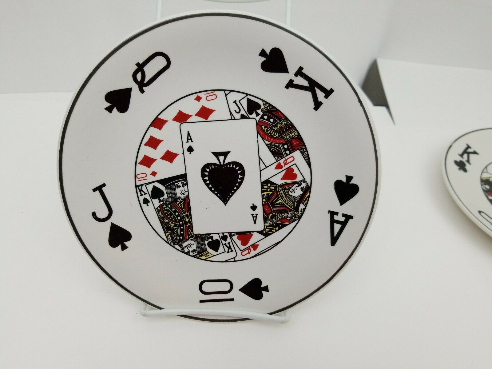 "Playing Cards Snack Plates Set of 4 Side Dessert Bread Dishes 8.25"" NEW 4 Suits image 4"