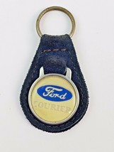 Vintage Ford Courier Leather Keychain Key Ring FOB Dark Blue - $16.45