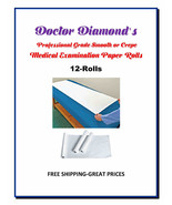 Dr.Diamonds Exam Table Paper 12 Rolls 225ft Smooth/125ft Crepe Rolls Low... - $32.95+