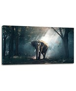 Youshion Art-Canvas Prints Wall Art with Frame African Elephant at Sunri... - $43.05