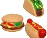 3 Vinyl Squeaky Dog Toys Foods Chew Teething Aid Burger HotDog Taco Hollow Puppy