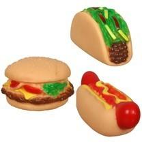 3 Vinyl Squeaky Dog Toys Foods Chew Teething Aid Burger HotDog Taco Holl... - $12.69