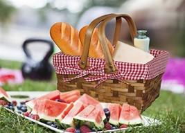 Picnic Basket Lined Rectangular Gingham Lining Small Washable Woodchip S... - €24,82 EUR