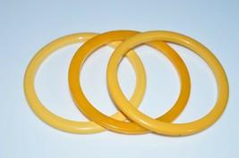 VTG Set of 3 Butterscotch Yellow Marbled End of Days BAKELITE Bangle Bra... - $123.75